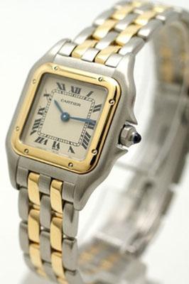 カルティエ Cartier サントス100MMレディース W20107X7 PG/ブラウン革 ホワイト